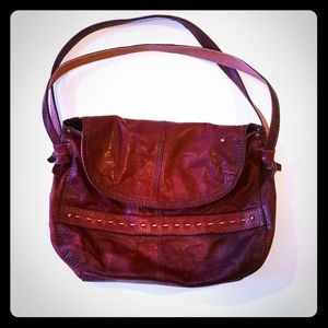 Lucky Brand Burgundy Red Hobo Lamb Leather Bag